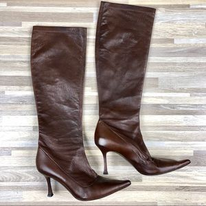 Brian Atwood Pointed Toe Knee High Leather Boots